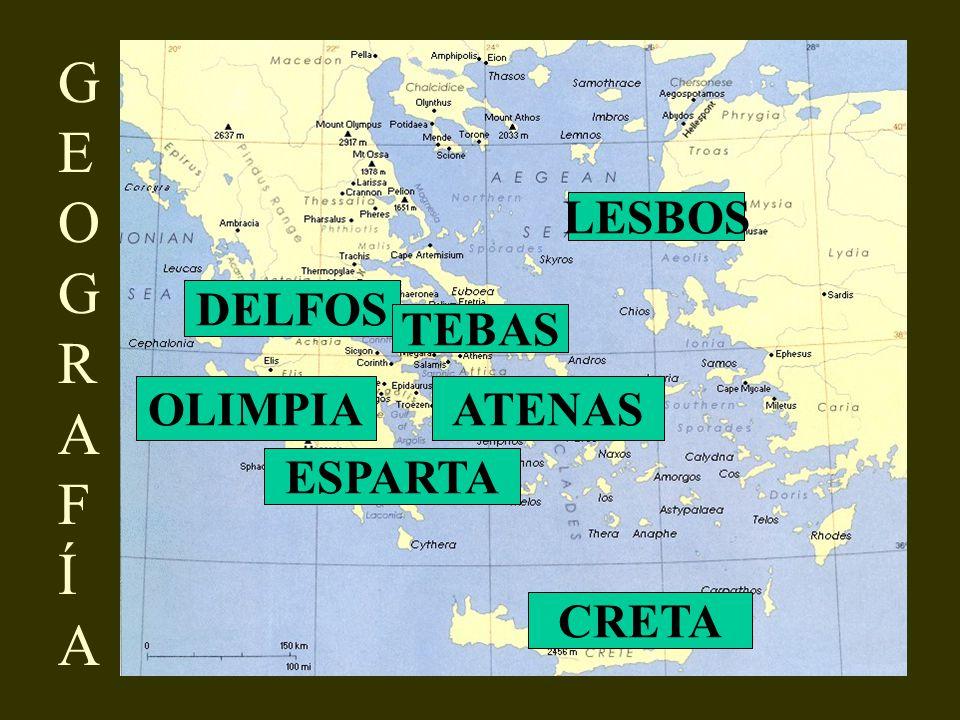 GEOGRAF ÍA LESBOS DELFOS TEBAS OLIMPIA ATENAS ESPARTA CRETA