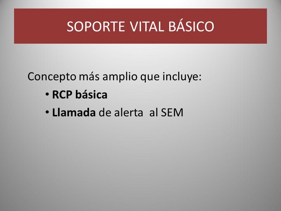 SOPORTE VITAL BÁSICO Concepto más amplio que incluye: RCP básica