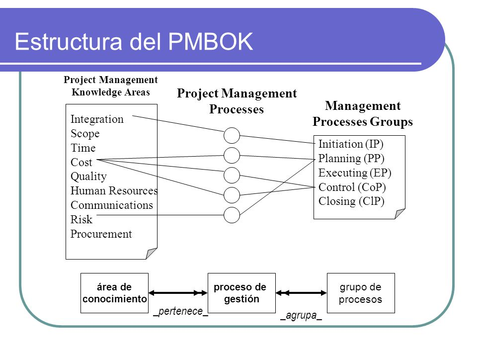 Estructura del PMBOK Project Management Processes Management