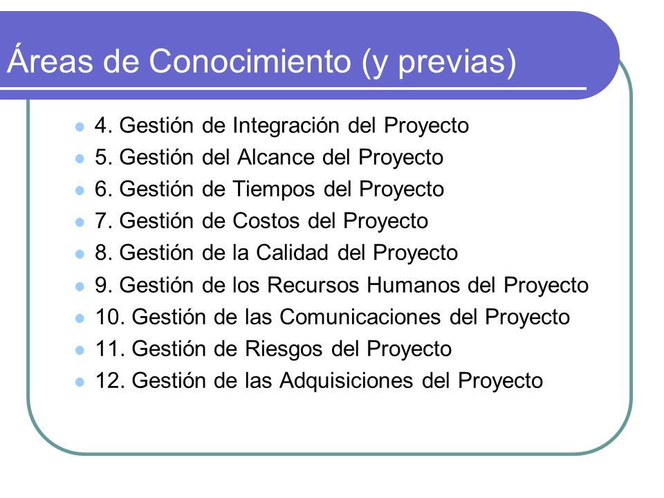 Áreas de Conocimiento (y previas)
