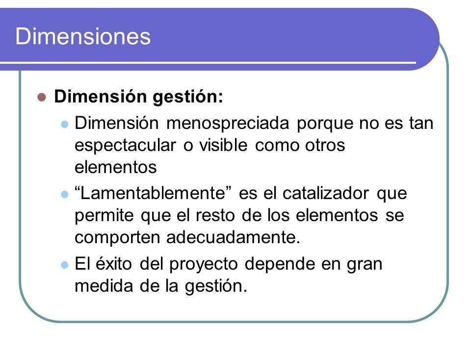 Dimensiones Dimensión gestión: