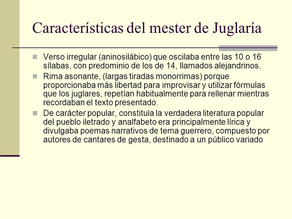 Características del mester de Juglaría