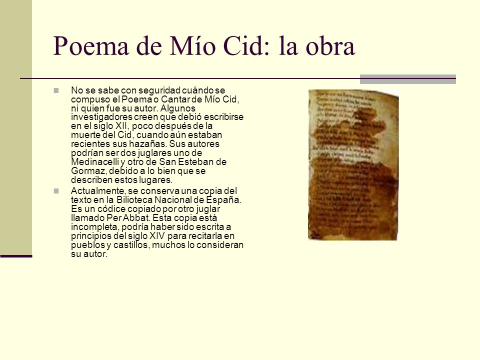 Poema de Mío Cid: la obra