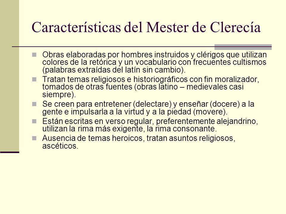 Características del Mester de Clerecía
