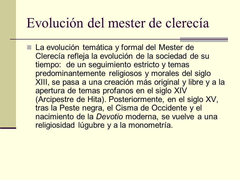 Evolución del mester de clerecía