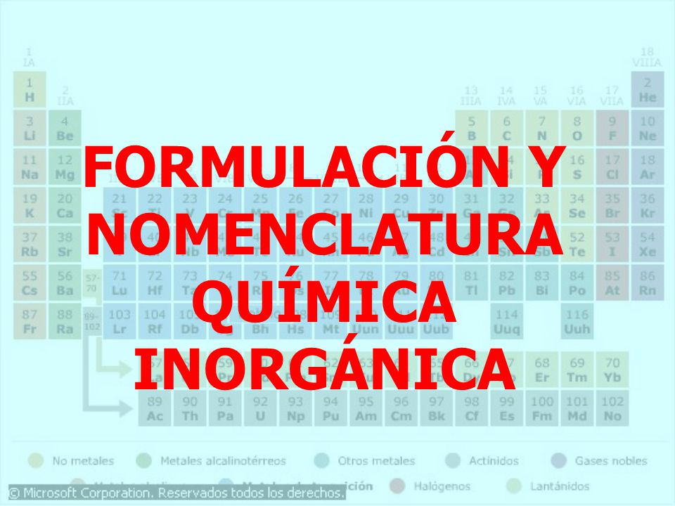 FORMULACIÓN Y NOMENCLATURA QUÍMICA INORGÁNICA