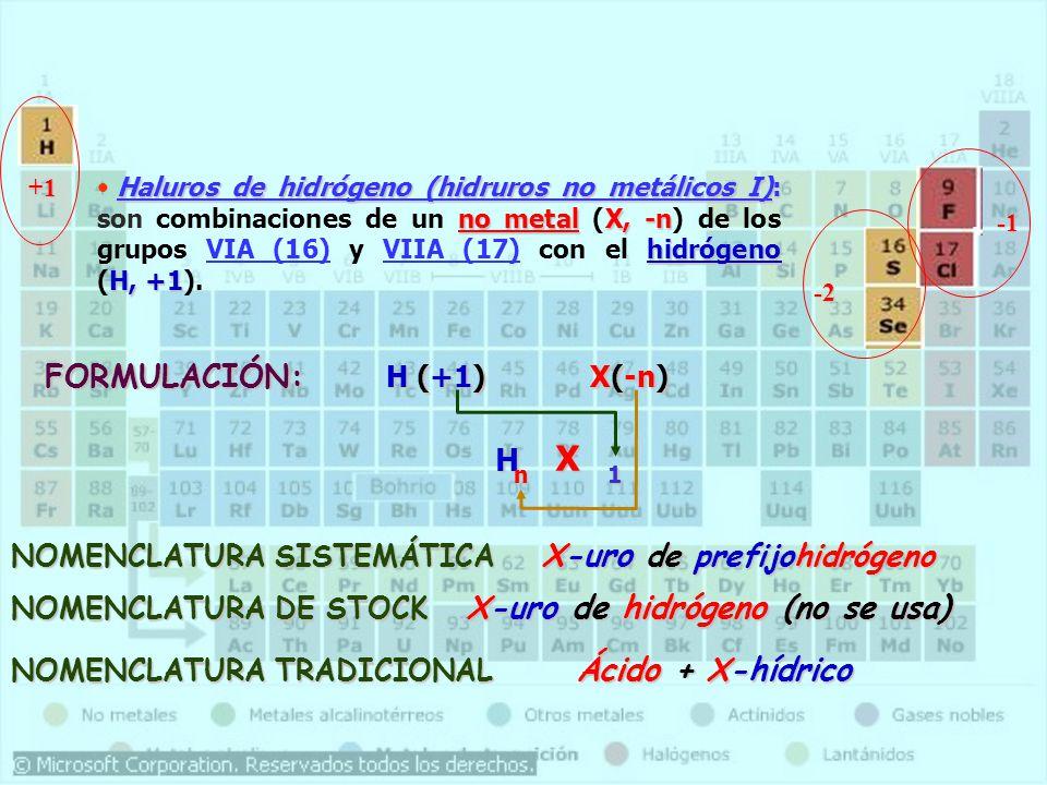 n 1 FORMULACIÓN: H (+1) X(-n) H X