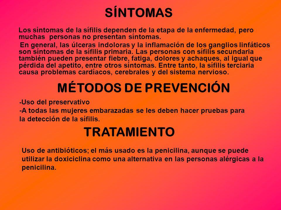 SÍNTOMAS MÉTODOS DE PREVENCIÓN TRATAMIENTO
