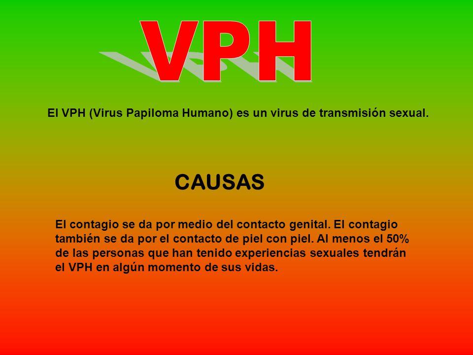 VPH El VPH (Virus Papiloma Humano) es un virus de transmisión sexual. CAUSAS.