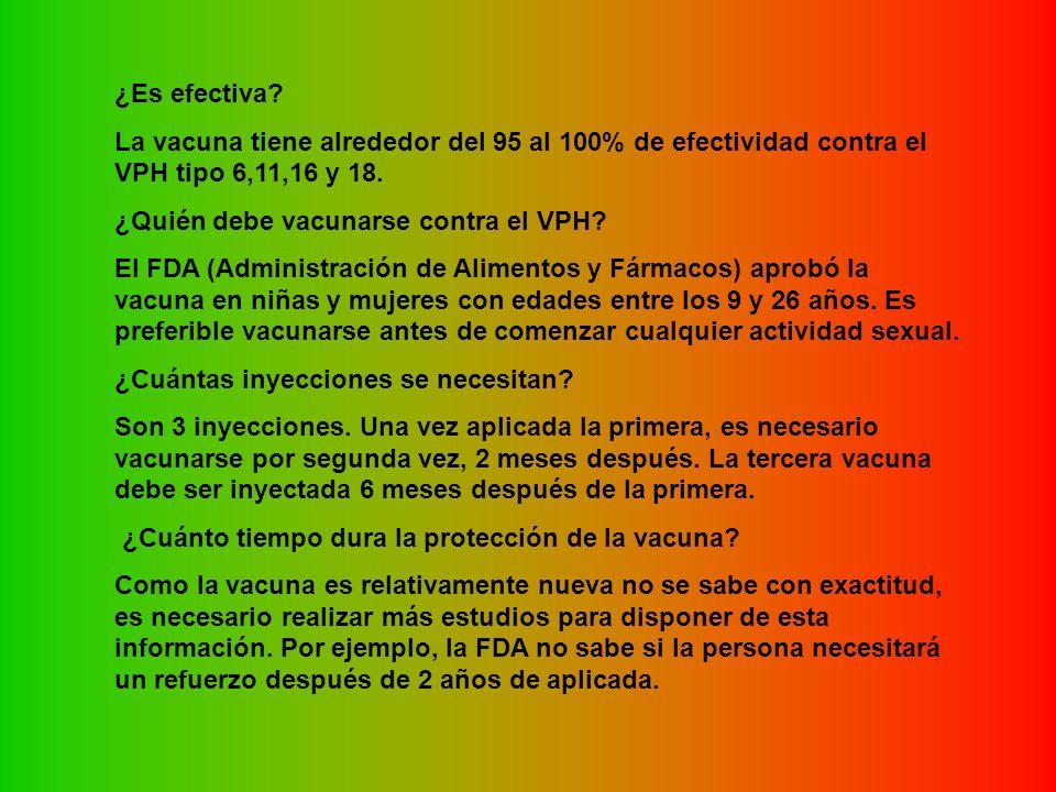 ¿Es efectiva La vacuna tiene alrededor del 95 al 100% de efectividad contra el VPH tipo 6,11,16 y 18.