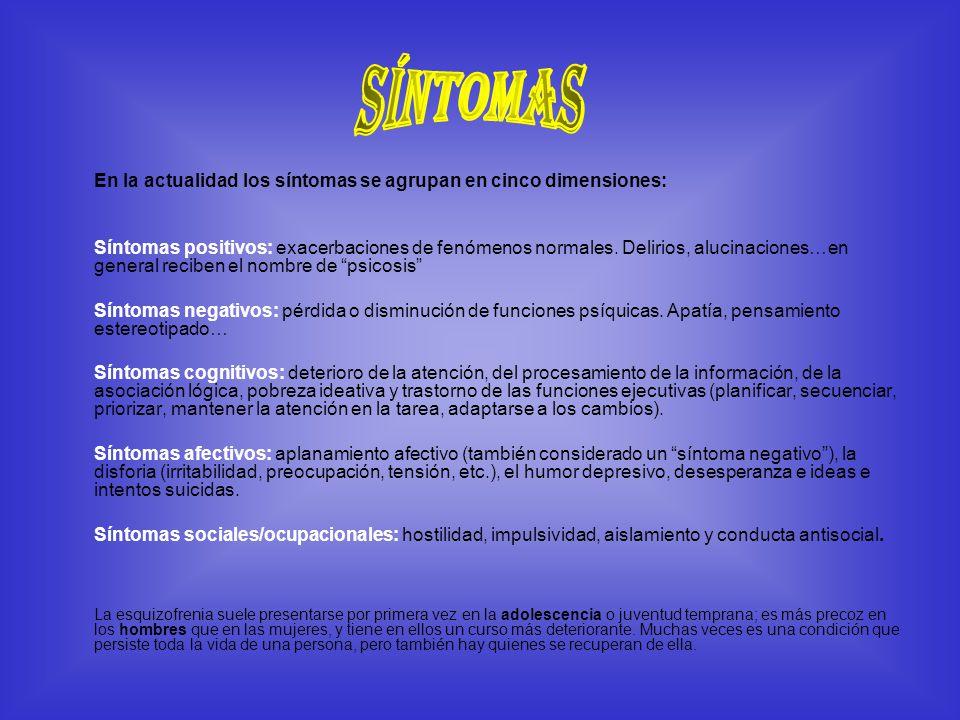 Síntomas En la actualidad los síntomas se agrupan en cinco dimensiones: