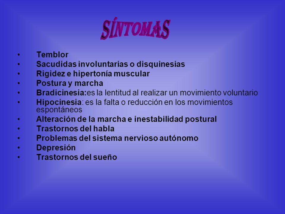 Síntomas Temblor Sacudidas involuntarias o disquinesias