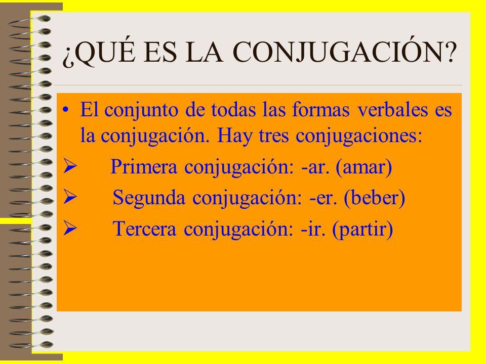 ¿QUÉ ES LA CONJUGACIÓN El conjunto de todas las formas verbales es la conjugación. Hay tres conjugaciones: