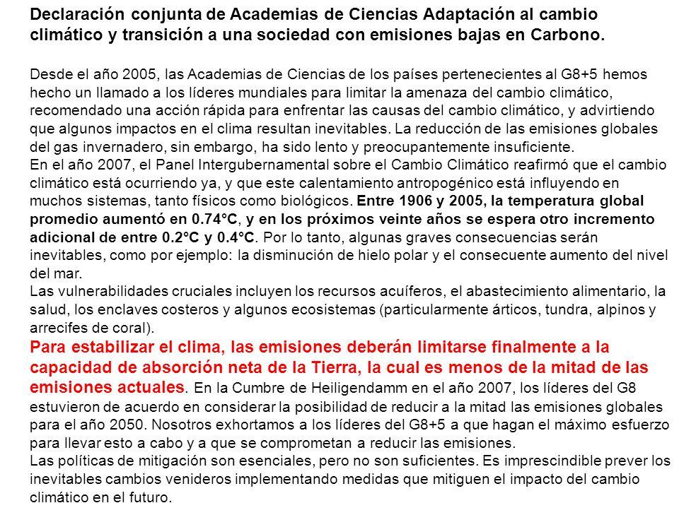 Declaración conjunta de Academias de Ciencias Adaptación al cambio climático y transición a una sociedad con emisiones bajas en Carbono.