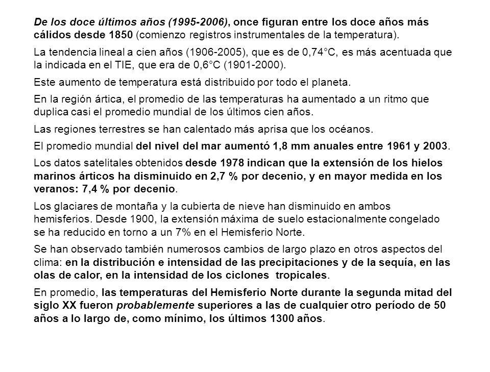De los doce últimos años (1995-2006), once figuran entre los doce años más cálidos desde 1850 (comienzo registros instrumentales de la temperatura).