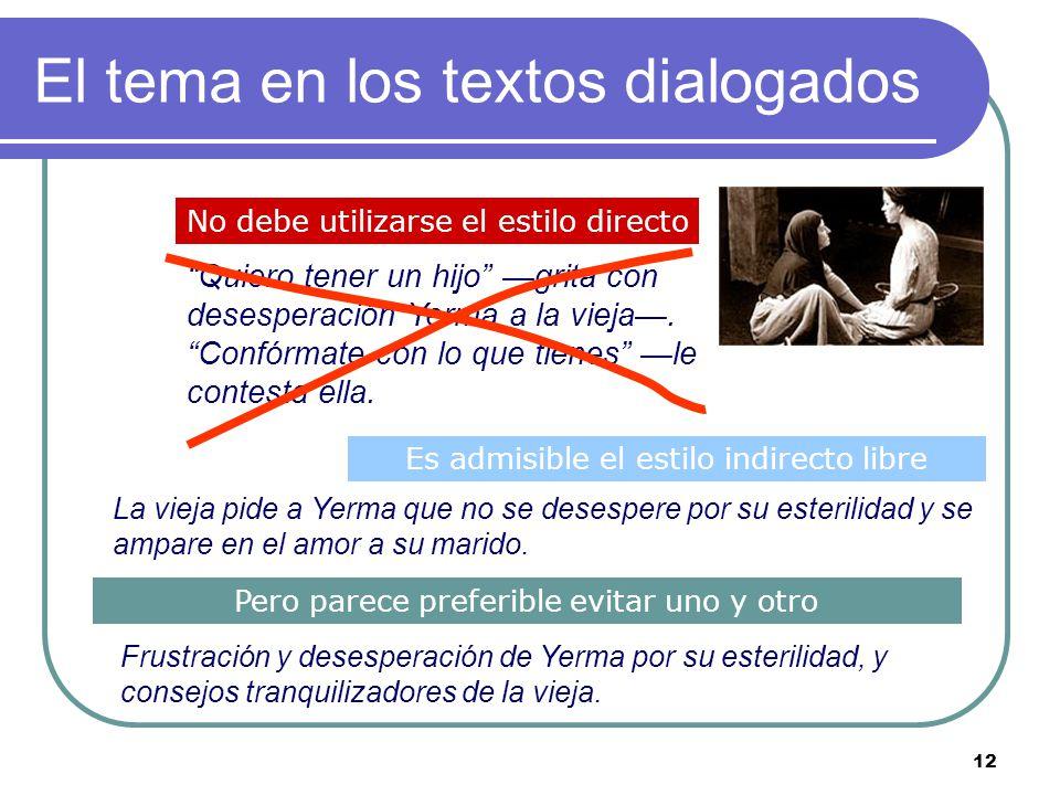 El tema en los textos dialogados