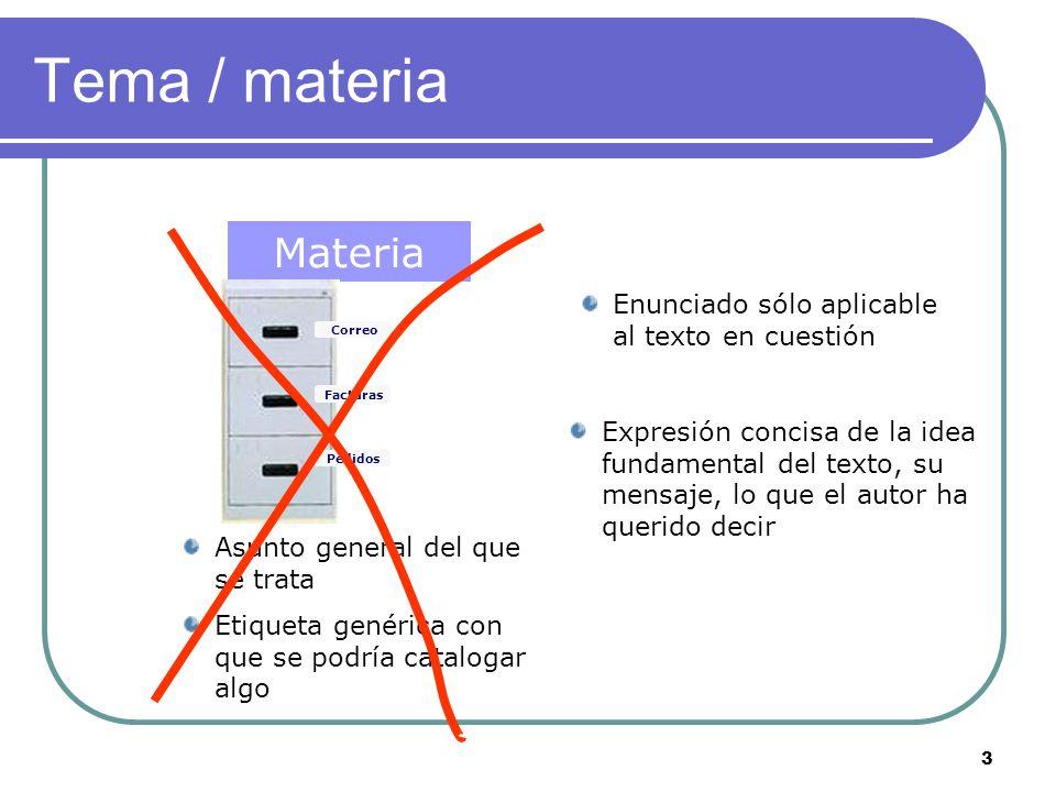Tema / materia Materia Tema