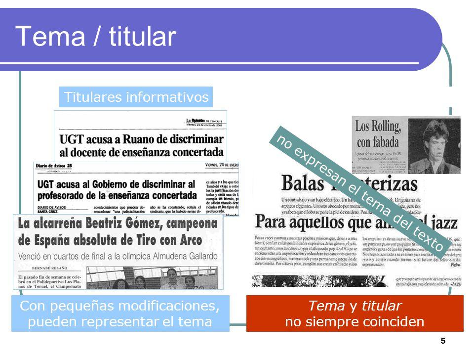 Tema / titular Titulares informativos Titulares sensacionalistas