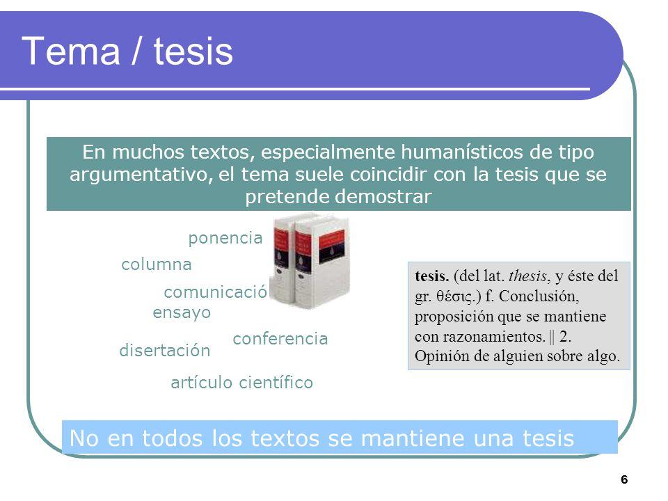 Tema / tesis No en todos los textos se mantiene una tesis