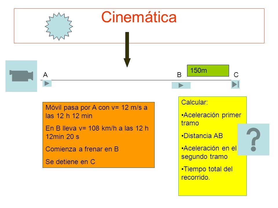 Cinemática 150m A B C Calcular: Aceleración primer tramo Distancia AB