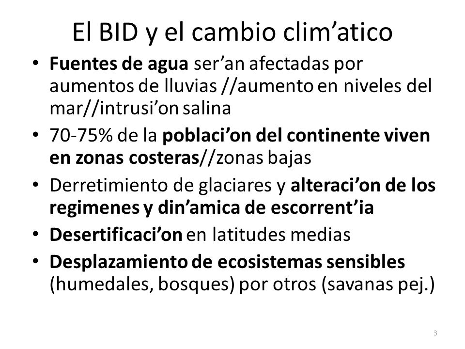 El BID y el cambio clim'atico
