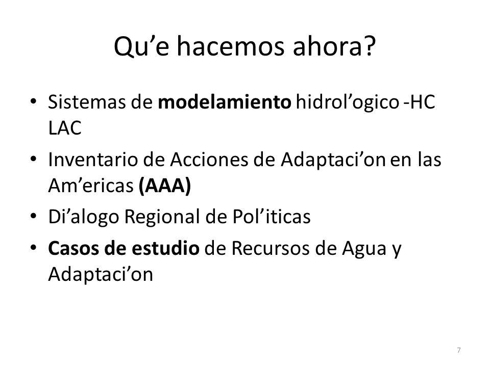 Qu'e hacemos ahora Sistemas de modelamiento hidrol'ogico -HC LAC