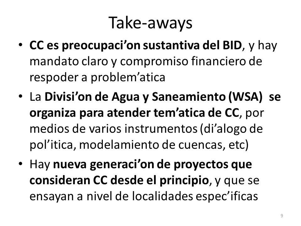 Take-aways CC es preocupaci'on sustantiva del BID, y hay mandato claro y compromiso financiero de respoder a problem'atica.