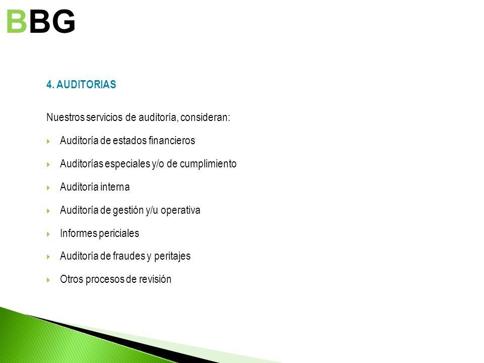 BBG 4. AUDITORIAS Nuestros servicios de auditoría, consideran: