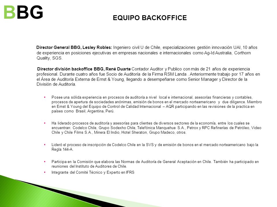 BBG EQUIPO BACKOFFICE.