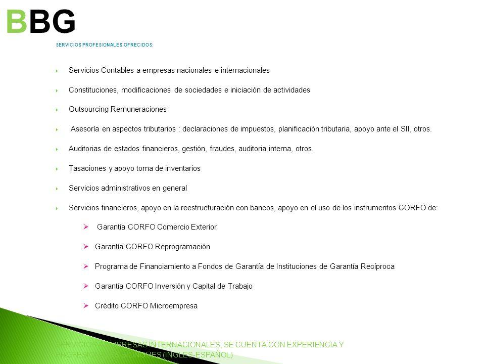 BBG Servicios Contables a empresas nacionales e internacionales