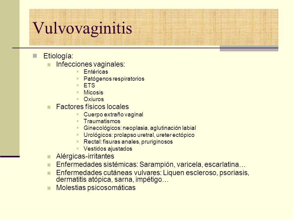 Vulvovaginitis Etiología: Infecciones vaginales: