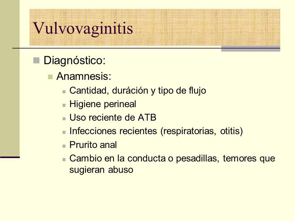 Vulvovaginitis Diagnóstico: Anamnesis: