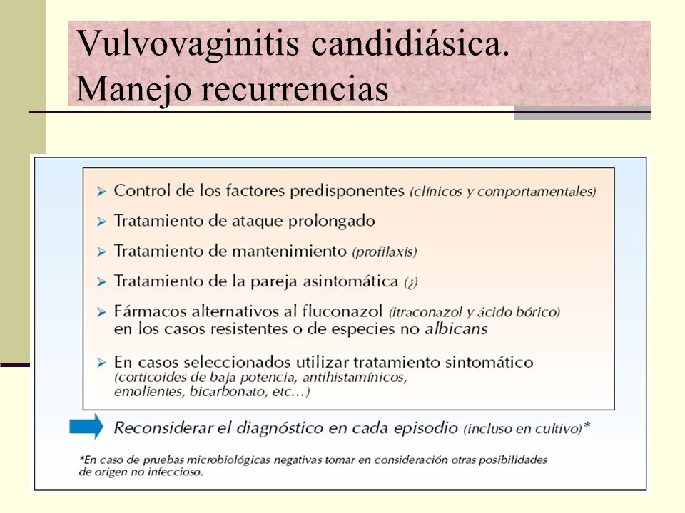 Vulvovaginitis candidiásica. Manejo recurrencias