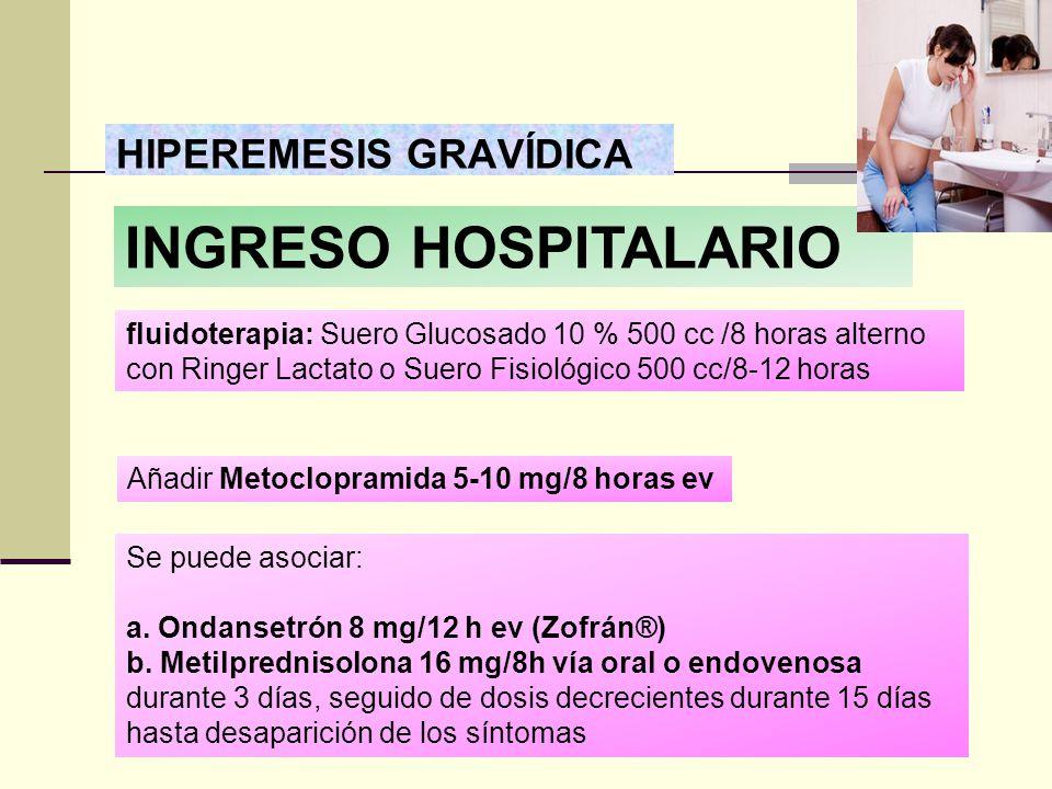 INGRESO HOSPITALARIO HIPEREMESIS GRAVÍDICA
