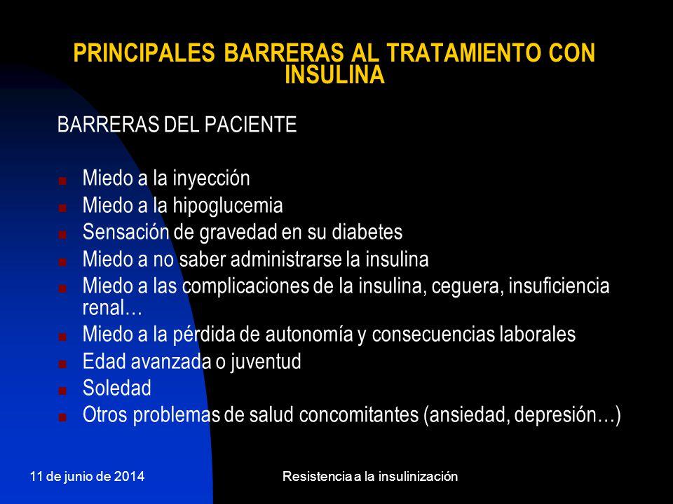 PRINCIPALES BARRERAS AL TRATAMIENTO CON INSULINA