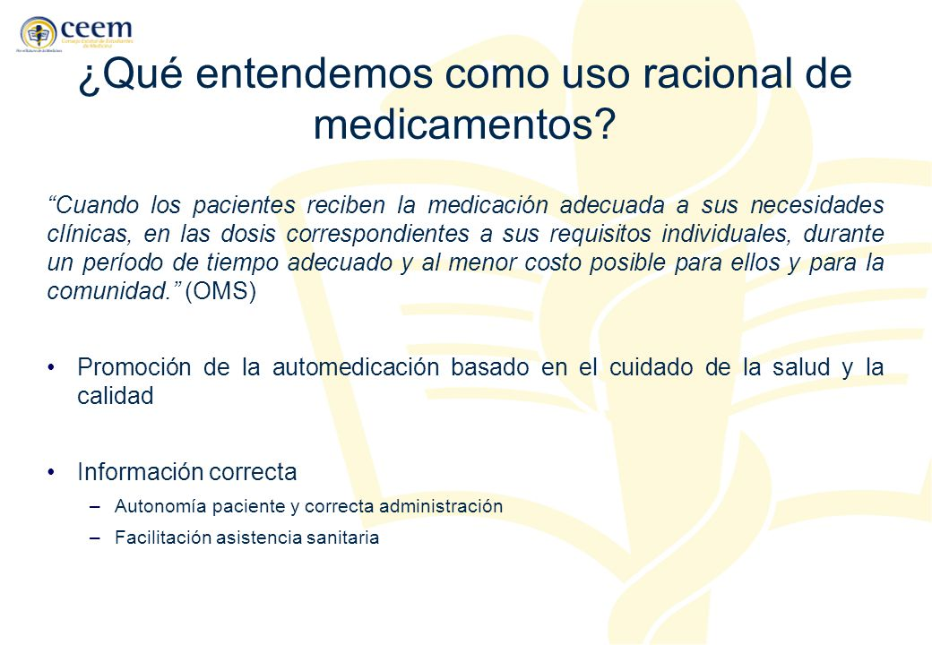 ¿Qué entendemos como uso racional de medicamentos