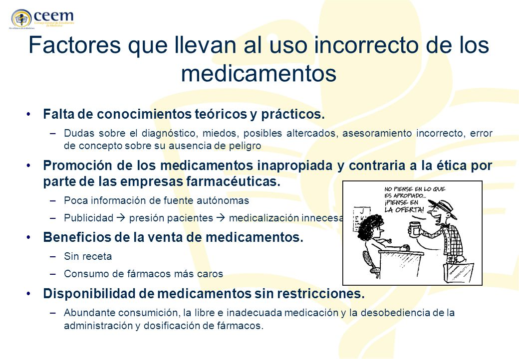 Factores que llevan al uso incorrecto de los medicamentos