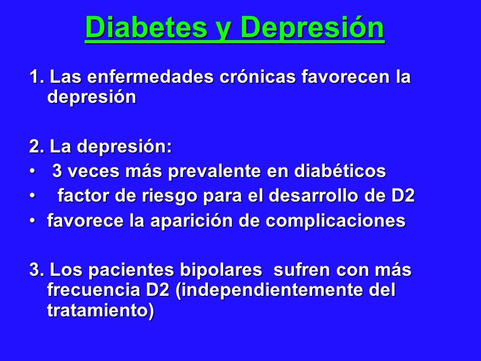 Diabetes y Depresión 1. Las enfermedades crónicas favorecen la depresión. 2. La depresión: 3 veces más prevalente en diabéticos.