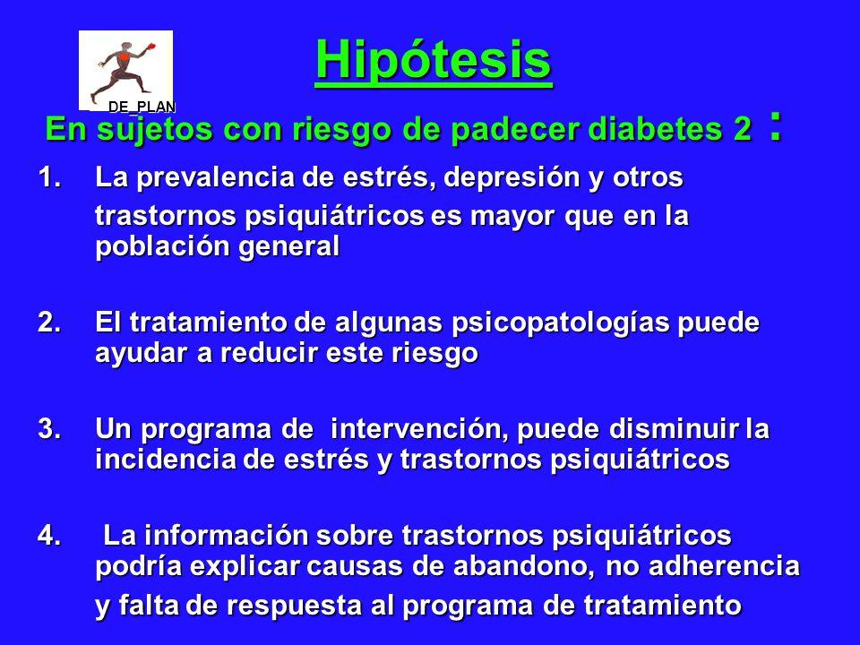 Hipótesis En sujetos con riesgo de padecer diabetes 2 :