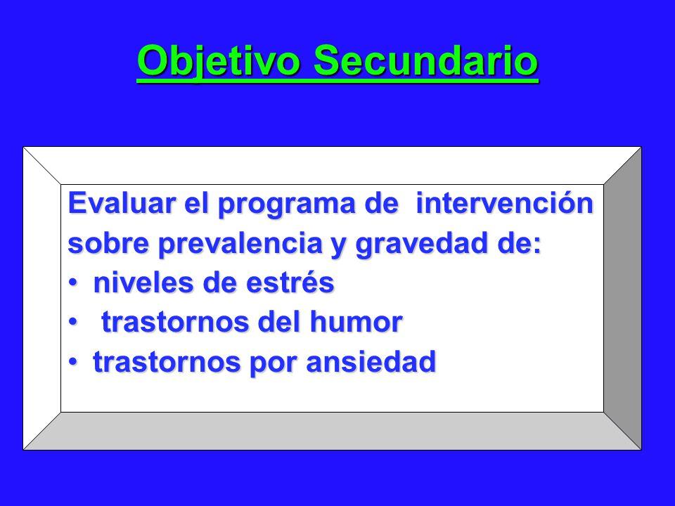 Objetivo Secundario Evaluar el programa de intervención