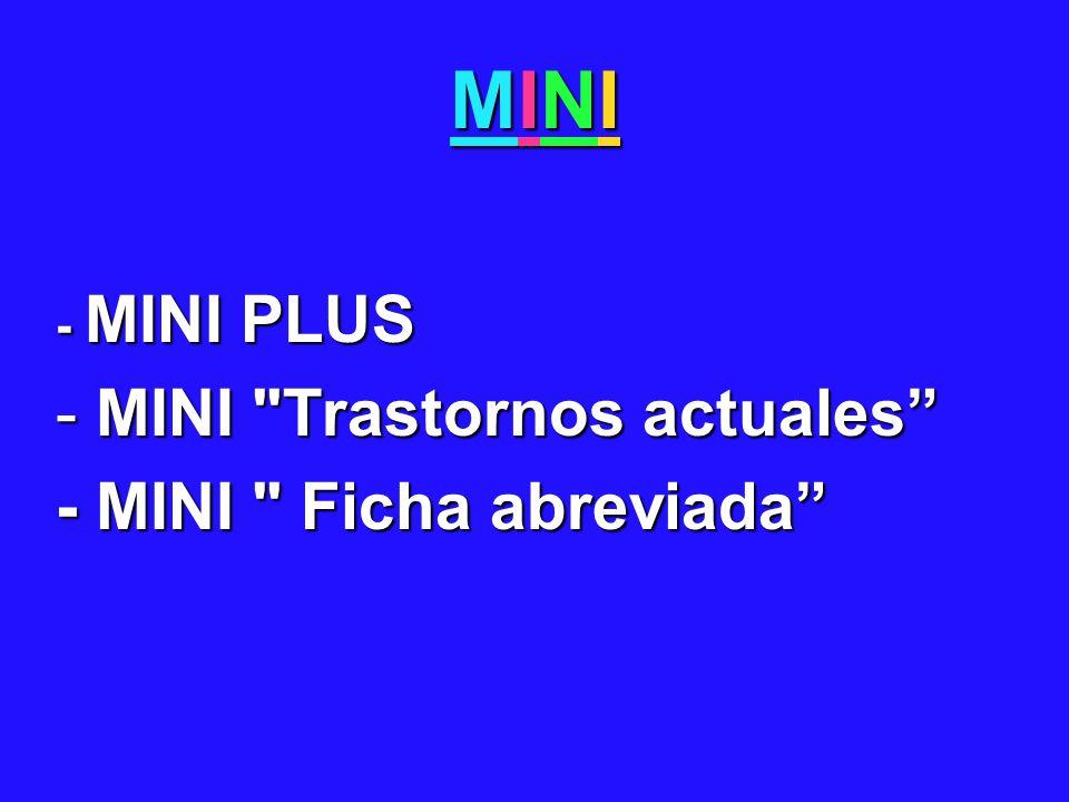 MINI - MINI PLUS MINI Trastornos actuales - MINI Ficha abreviada