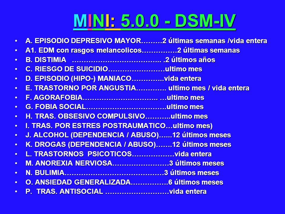 MINI: 5.0.0 - DSM-IV A. EPISODIO DEPRESIVO MAYOR………2 últimas semanas /vida entera. A1. EDM con rasgos melancolicos……………2 últimas semanas.