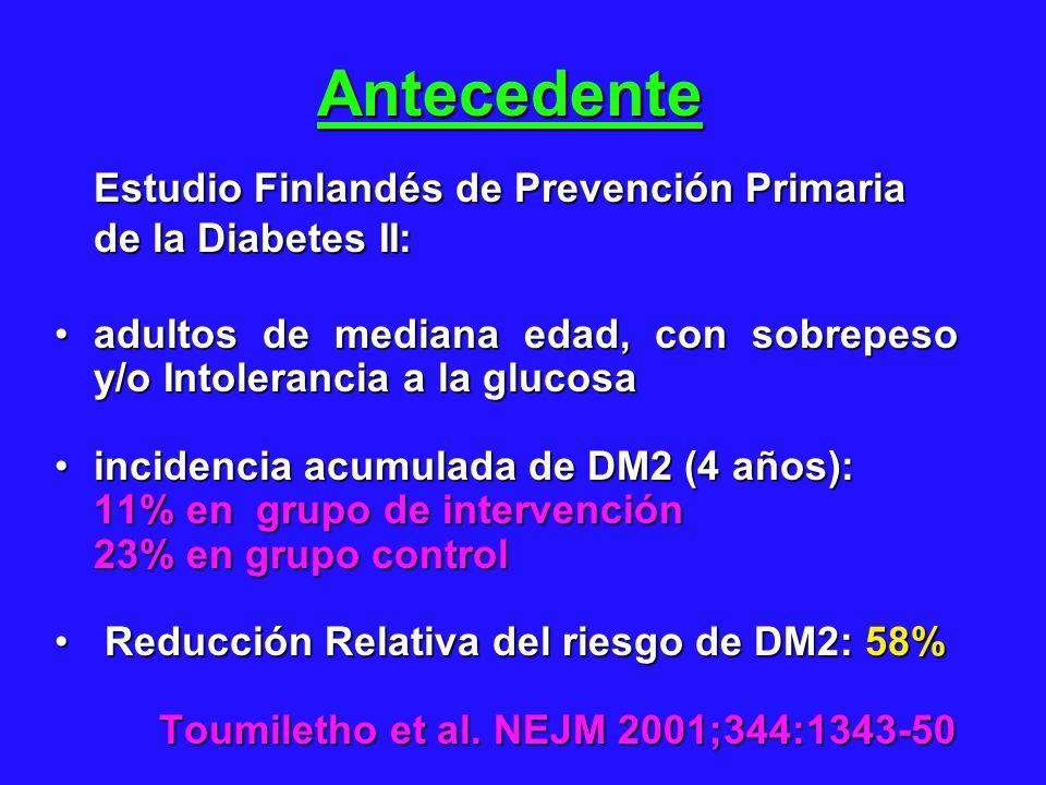 Antecedente Estudio Finlandés de Prevención Primaria de la Diabetes II: adultos de mediana edad, con sobrepeso y/o Intolerancia a la glucosa.