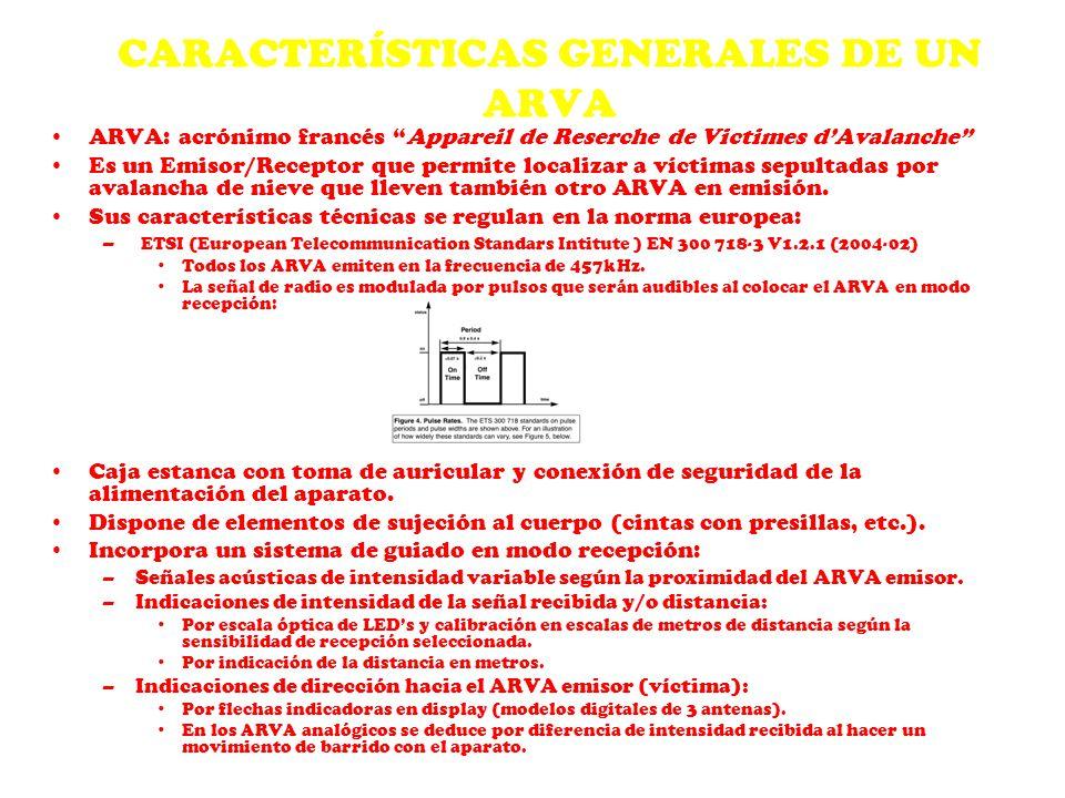 CARACTERÍSTICAS GENERALES DE UN ARVA