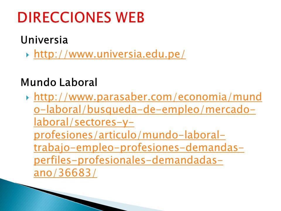 DIRECCIONES WEB Universia http://www.universia.edu.pe/ Mundo Laboral