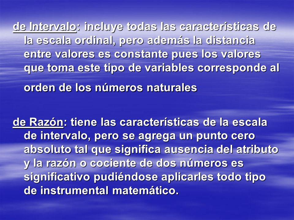 de Intervalo: incluye todas las características de la escala ordinal, pero además la distancia entre valores es constante pues los valores que toma este tipo de variables corresponde al orden de los números naturales