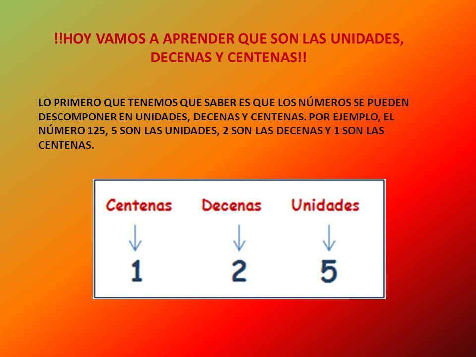 !!HOY VAMOS A APRENDER QUE SON LAS UNIDADES, DECENAS Y CENTENAS!!