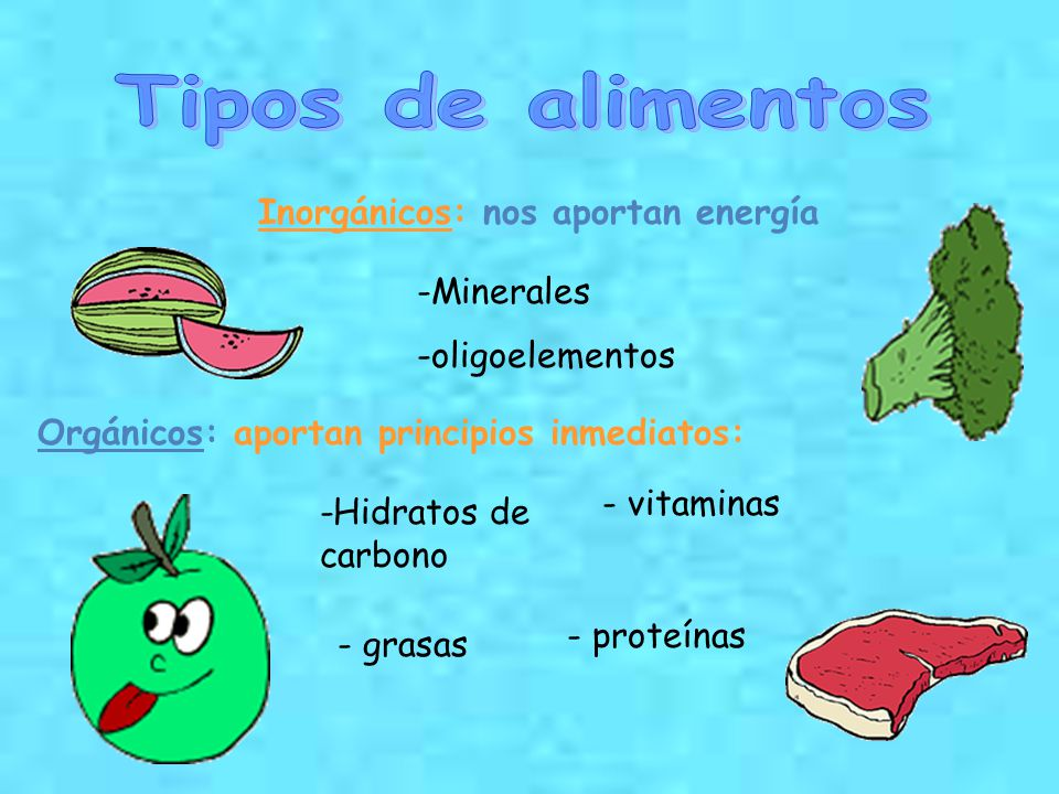 Tipos de alimentos Inorgánicos: nos aportan energía Minerales