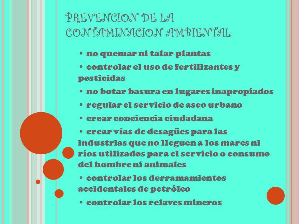 PREVENCION DE LA CONTAMINACION AMBIENTAL