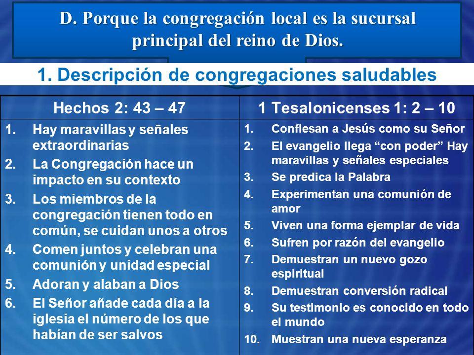 1. Descripción de congregaciones saludables